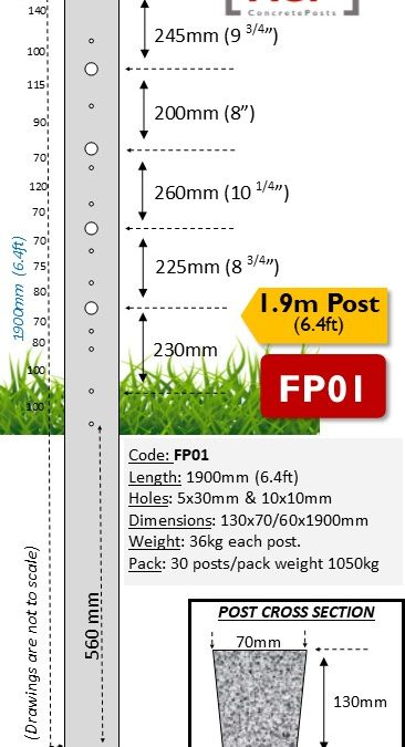 FP01 – 1.9m (6.4ft) with 5 Barb Hole Concrete Fence Post