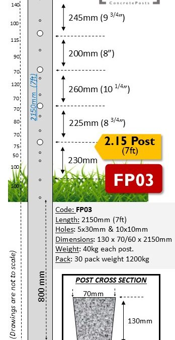 FP03 – 2.15m (7ft) with 5 Barb Hole Concrete Fence Post