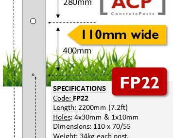 FP22 – 2.2m (7.2ft) with 4 Barb Hole Concrete Fence Post (110mm wide)